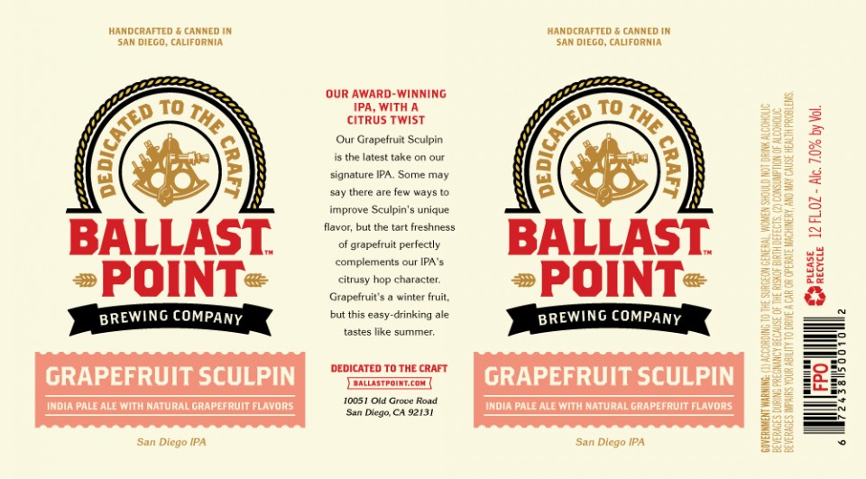 Ballast Point Grapefruit Sculpin Cans