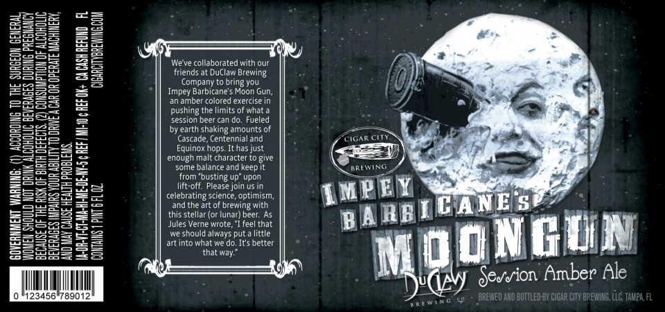 Cigar City Duclaw Impey Barbicane's Moongun Session Amber Ale