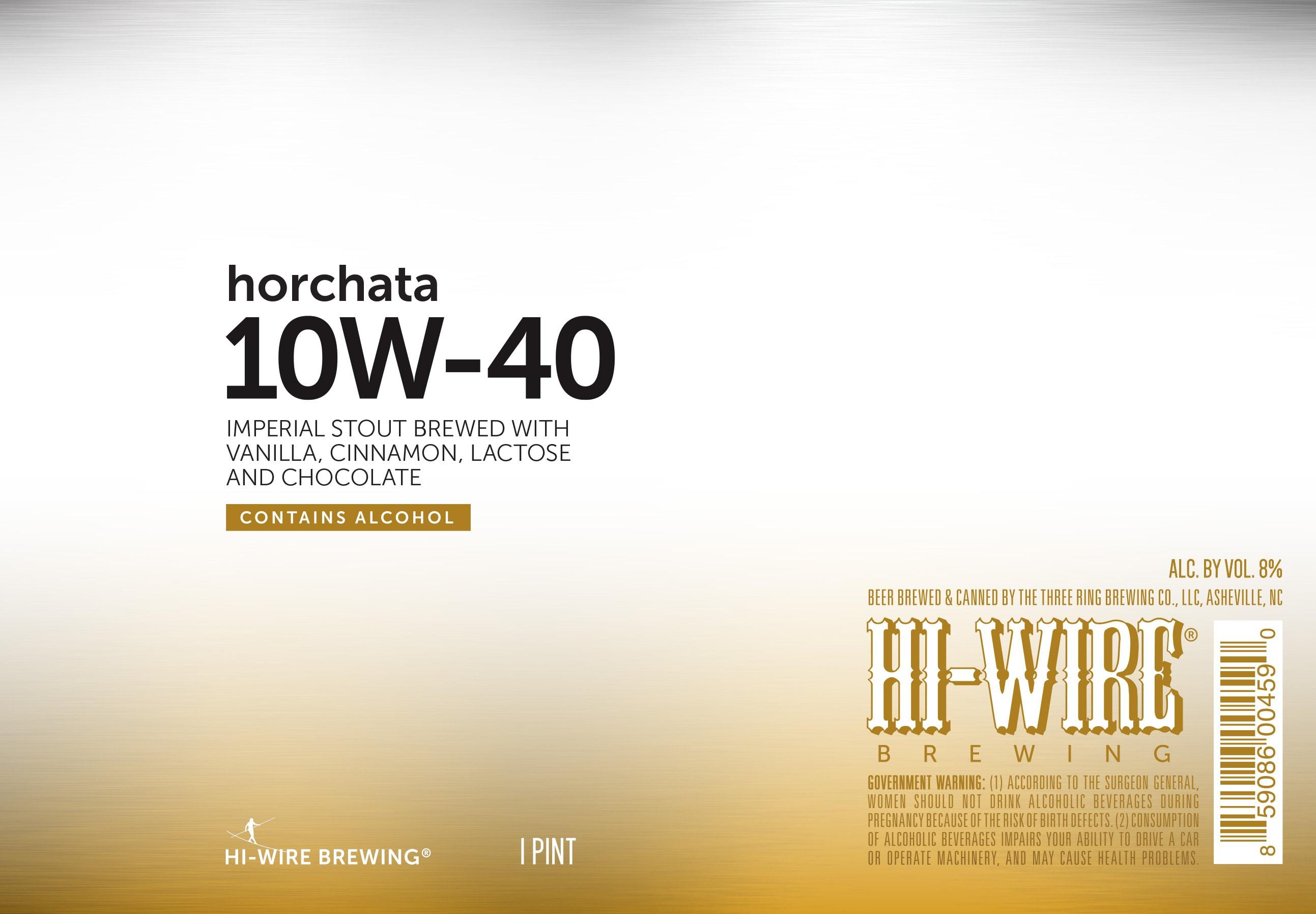 Hi-Wire Horchata 10W-40 - Beer Street Journal