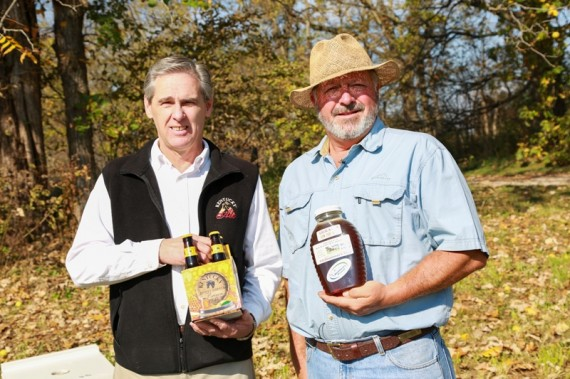 Four-packs of Kentucky Honey Barrel Brown Ale from Alltech Lexington Brewing and Distilling Company will soon hit shelves across the country. Master brewer Ken Lee used honey in the brew from beekeeper Richard Hosey of Hosey Farms in Midway. The winter seasonal barrel-aged brown ale is brewed with ginger and Kentucky honey.