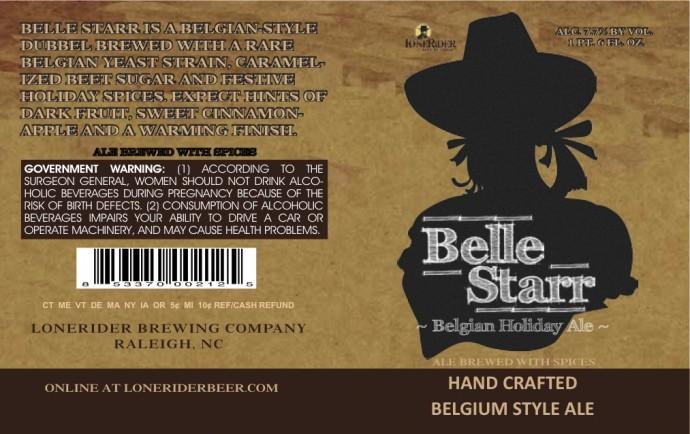 Lonerider Belle Star Belgian Holiday Ale