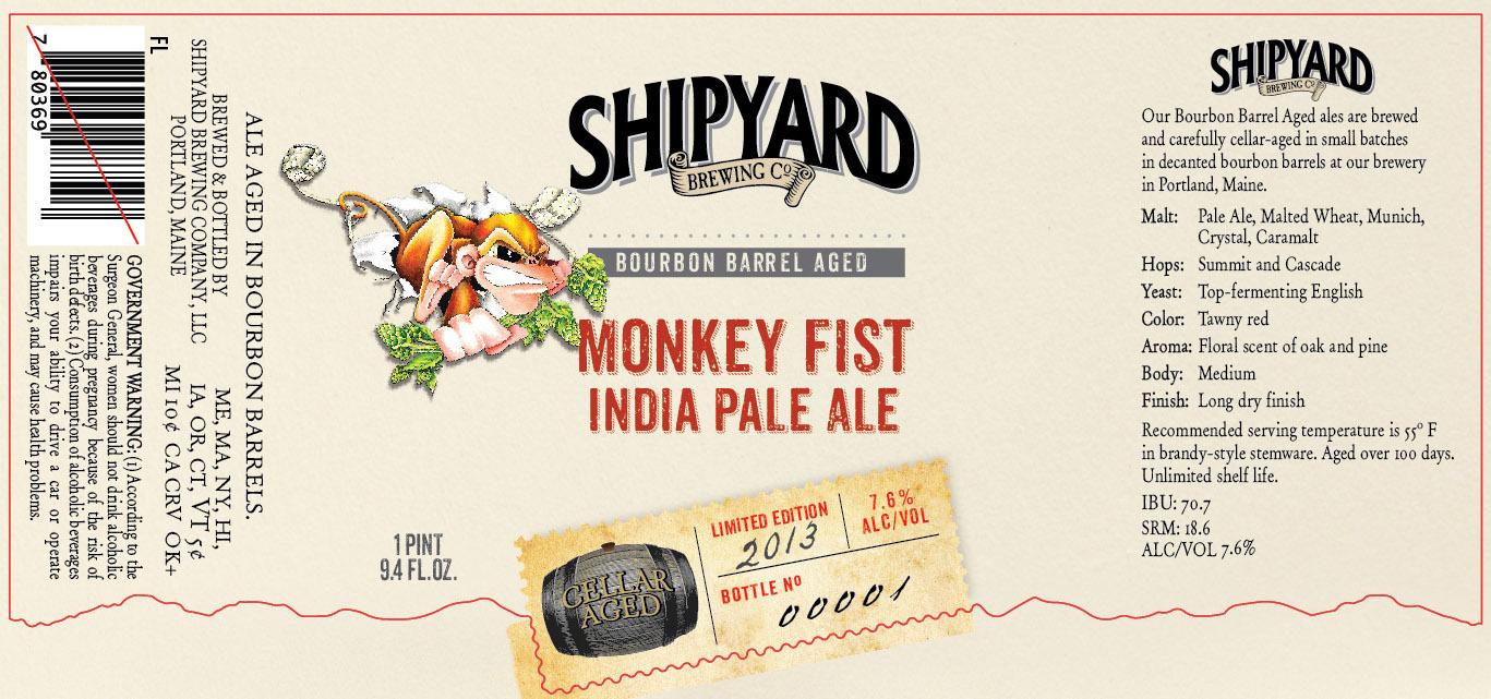 Shipyard Barrel Aged Monkey Fist India Pale Ale - Beer Street Journal